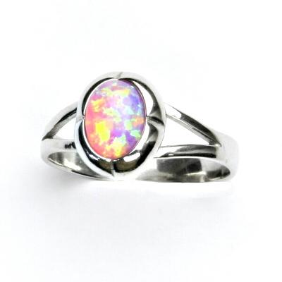 ČIŠTÍN s.r.o Stříbrný prsten, růžový syntetický opál, prstýnek s opálem, T 1374 13152