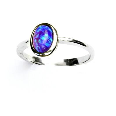 ČIŠTÍN s.r.o Stříbrný prsten, fialový syntetický opál, prstýnek s opálem, T 1354 13217