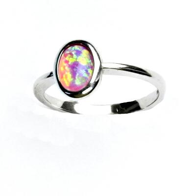 ČIŠTÍN s.r.o Stříbrný prsten, růžový syntetický opál, prstýnek s opálem, T 1354 13219