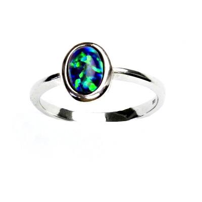 ČIŠTÍN s.r.o Stříbrný prsten, zelený syntetický opál, prstýnek s opálem, T 1354 13222