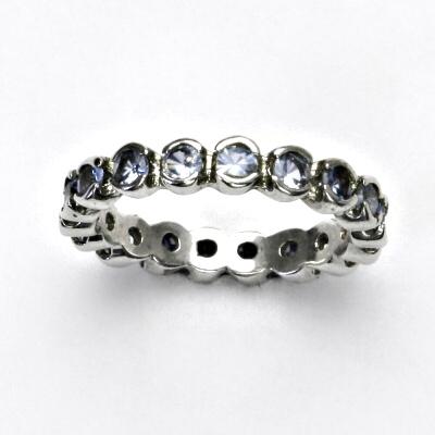 ČIŠTÍN s.r.o Stříbrný prstýnek, zirkony v barvě akvamarinu, prsten ze stříbra, vel. 54, 2,80 g 13243