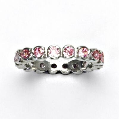 ČIŠTÍN s.r.o Stříbrný prstýnek, růžové zirkony, prsten ze stříbra, vel. 54, 2,92 g 13244