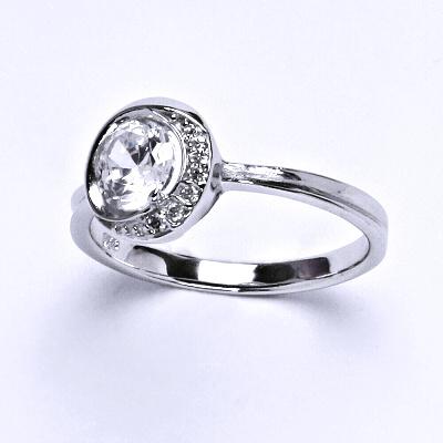 ČIŠTÍN s.r.o Stříbrný prsten, prstýnek ze stříbra, syntetický zirkon, váha 2,85 g, vel.57 13981