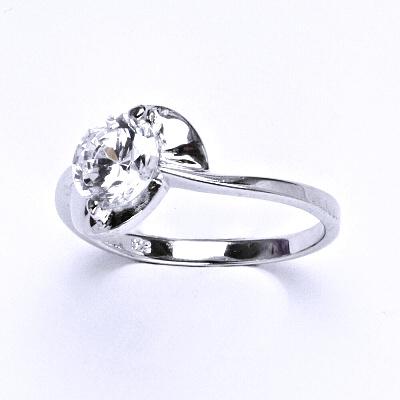 ČIŠTÍN s.r.o Stříbrný prsten, prstýnek ze stříbra, syntetický zirkon, váha 2,66 g, vel.56 13977