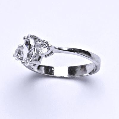 ČIŠTÍN s.r.o Stříbrný prsten s čirým zirkonem,prstýnek ze stříbra,váha 2,10 g 14329
