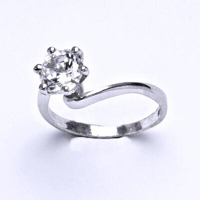 ČIŠTÍN s.r.o Stříbrný prsten s čirým zirkonem,prstýnek ze stříbra,váha 2,24 g 14330