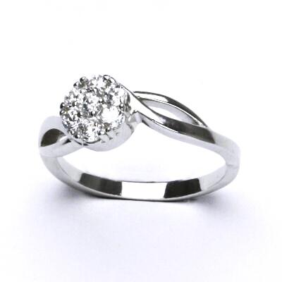 ČIŠTÍN s.r.o Stříbrný prsten, čirý zirkon, prstýnek ze stříbra, 3,27 g, vel. 59 12441