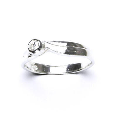 ČIŠTÍN s.r.o Stříbrný prsten, čirý zirkon, prstýnek ze stříbra s čirými zirkony, 2,41 g 12446