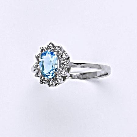 e3585f0f9 Stříbrný prsten Kate, přírodní topaz swiss a čiré zirkony, VR 247 ...