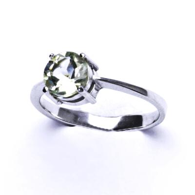 ČIŠTÍN s.r.o Stříbrný prsten, přírodní green ametyst, prstýnek ze stříbra, T 1357 2960