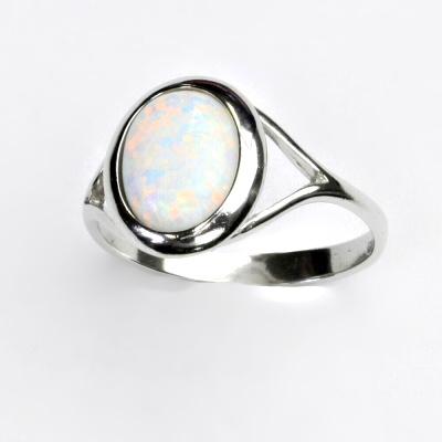 ČIŠTÍN s.r.o Stříbrný prstýnek, syntetický bílý opál, prstýnek s opálem, T 1453 2281