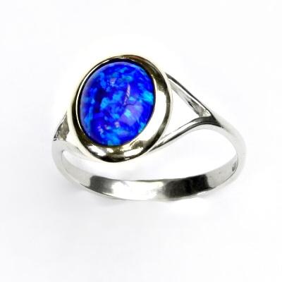 ČIŠTÍN s.r.o Stříbrný prstýnek, tmavě modrý syntetický opál, prstýnek s opálem, T 1453 2282