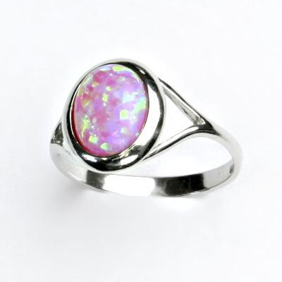 ČIŠTÍN s.r.o Stříbrný prstýnek, růžový syntetický opál, prstýnek s opálem, T 1453 2284