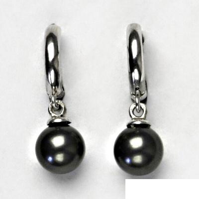 Stříbrné náušnice s černou Swarovski perlou 8 mm 50571a89c8f