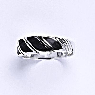 ČIŠTÍN s.r.o Stříbrný prstýnek s černým sklem, prsten ze stříbra,váha 2,24 g 14393