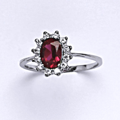ČIŠTÍN s.r.o Stříbrný prsten Kate, zirkon rubín a čiré zirkony, prstýnek ze stříbra, T 1480 14754
